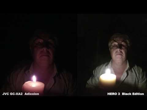 Low Light Test - JVC GC XA2 vs Hero3 Black Edition - Side by Side