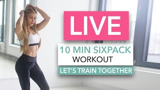 10 MIN SIXPACK WORKOUT - Let's train together / No Equipment I Pamela Reif