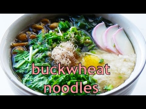 SOBA BACKWHEAT NOODLE SOUP with VEGETABLS in HOT SOUP low calorie food
