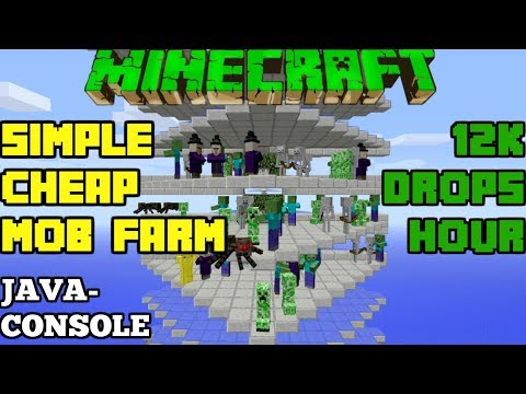 Minecraft: Simple Overworld Mob Farm 12K Drops/Hour Java And Console Edition Tutorial