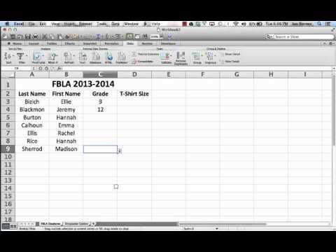 Dropdown Menus in Excel Mac 2011