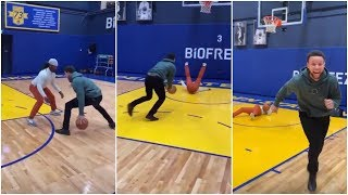 Stephen Curry takes one of his friends 1 on 1, ends up destroying him !