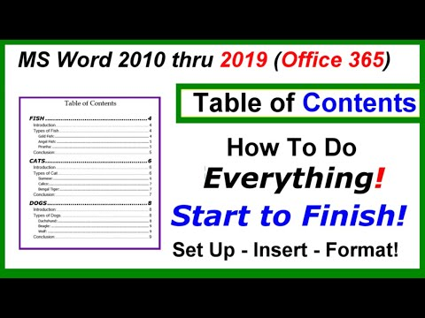 Word 2016, 2013 & 2010 - Table of Contents - Setup, Inserting, Formatting