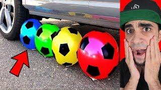 سيارة تدعس على كرة قدم !!