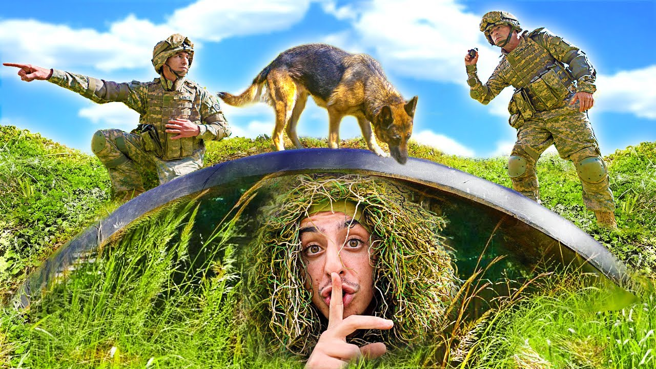 I Challenged the ACTUAL MILITARY to Camo Hide and Seek!