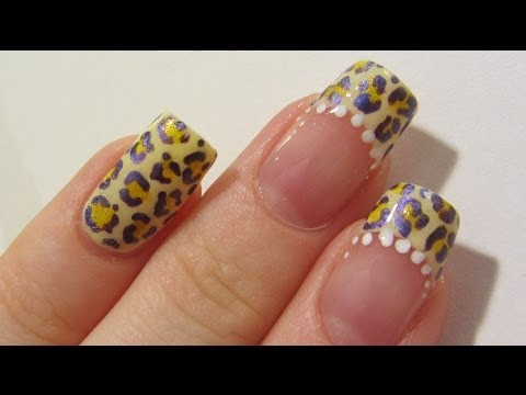 Yellow and Violet Banana Leopard Design using Gel Pens Nail Art Tutorial