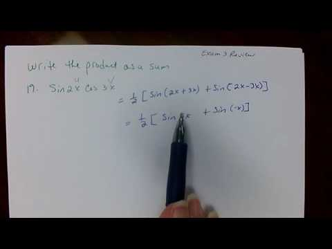 Sum and product formulas precal exam 3 review