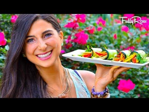 FullyRaw Avocado Cucumber Rainbow Rolls!