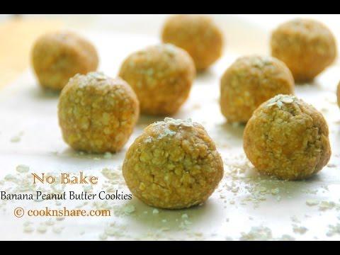 No Bake Banana Peanut Butter Cookies - 4 Ingredients