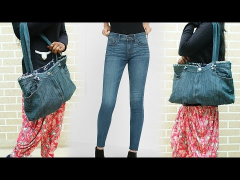 How To Make Hand Bag From Old Jeans - DIY | Refashion Clothes