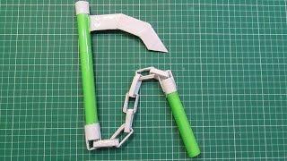 How to Make a Paper Ninja Weapon(KUSARI GAMA )- Easy Tutorials