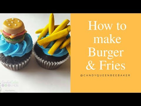 How to make Burger and Fries mini cupcake toppers
