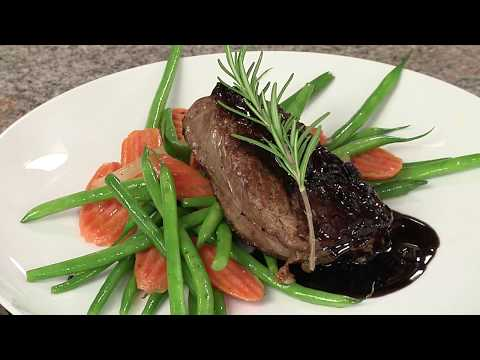 Pan-Roasted Steak with Espresso Rosemary Wine reduction sauce
