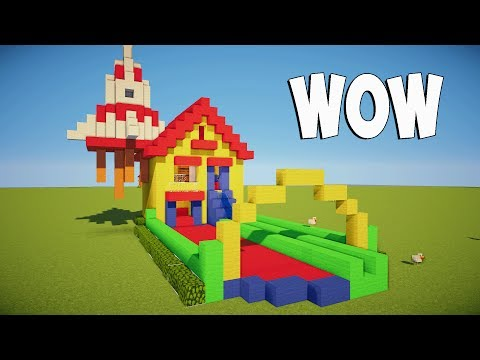 Minecraft Tutorial: How To Make A Bouncy House And Water Slide! How to make a cartoon house