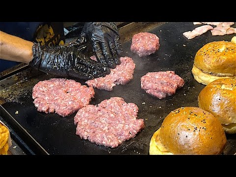 Special HAMBURGERS - Beef, Bacon, Cheese, Chips, Calamari burgers | American Street Food from USA