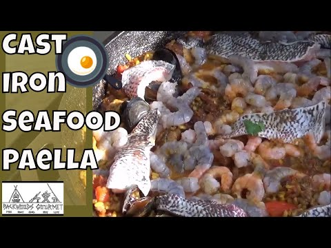 Cast Iron Seafood Paella in the 14 Inch Lodge Pan
