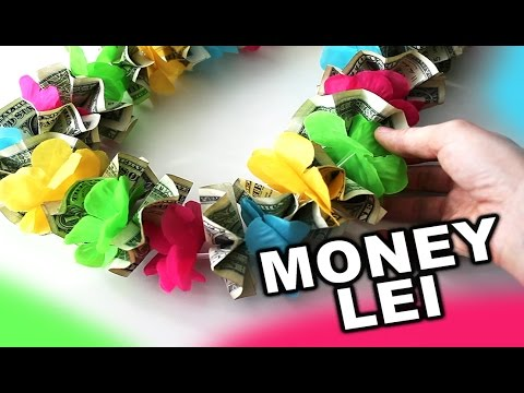 How to make a money lei for graduation or wedding with colorful flowers