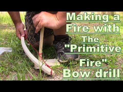 Primitive fire making with a bow drill
