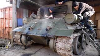 WW2 T-34 Tank Engine Cold Start Up Barn Find