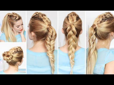 High ponytail hairstyles with braids for school, medium long hair ★ Frisuren für lange haare