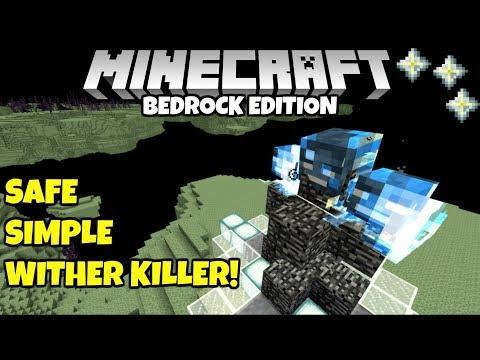 Minecraft Bedrock: Simple Safe Wither Killer! No Sword Needed! MCPE PE Xbox
