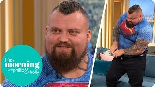 Strongman Eddie Hall Stuns Holly and Phillip by FOLDING Up a Frying Pan | This Morning
