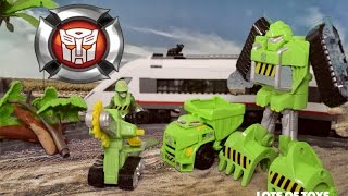 Train Rescue Transformers Rescue Bots Boulder the Dozer and Dump Truck Walker Rescue Saw Toy Review