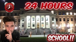 (INTENSE!) CRAZY 24 HOUR OVERNIGHT BIG SCHOOL Fort ⏰ |SCARY 60 FEET LEDGE (ALMOST FELL & GOT CAUGHT)