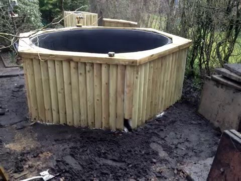 How to build Wooden Raised Koi Fish Pond Construction