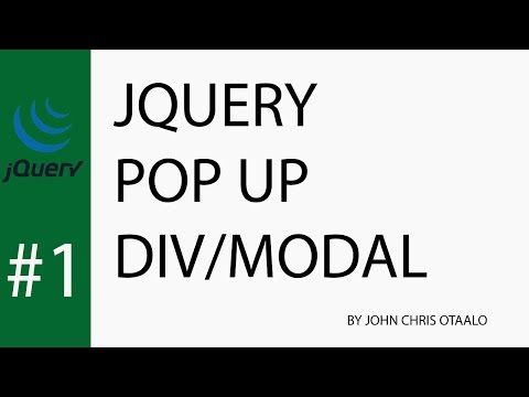Jquery Pop Up div/modal Tutorial