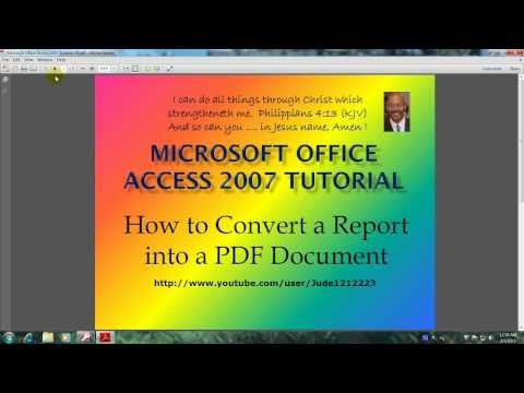 Access 2007 Tutorial How To Save A Report as a PDF Document