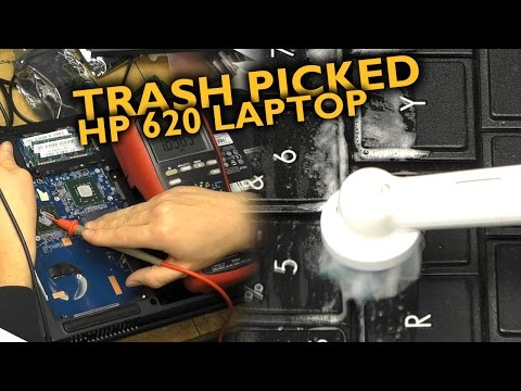 Trash-picked HP 620 laptop & electric toothbrush keyboard cleaning
