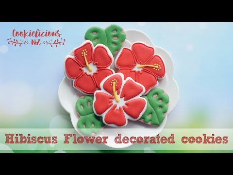Moana Cookies - How to make hibiscus flower cookie for Moana Party