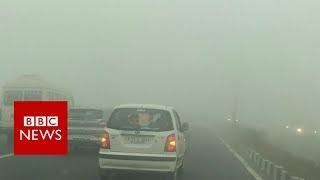 Hair-raising drive through Delhi smog - BBC News
