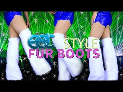 RAVE / FESTIVAL FUR BOOTS TUTORIAL - DIY CUSTOM BOOTS FOR UNDER 20$