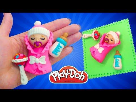 Play Doh Newborn Babydoll How to Make Baby for Doll.  DIY Miniature Babydoll, Feeding Bottle, Rattle
