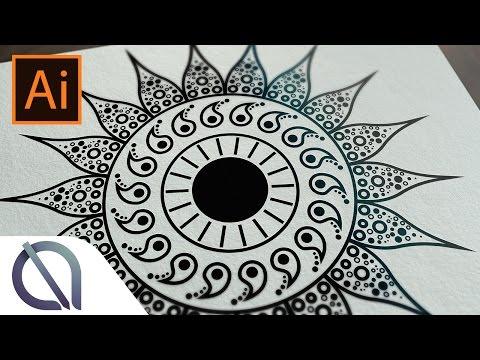 Real Time Creating Of Mandala Symmetric Repeating Tutorial Illustrator