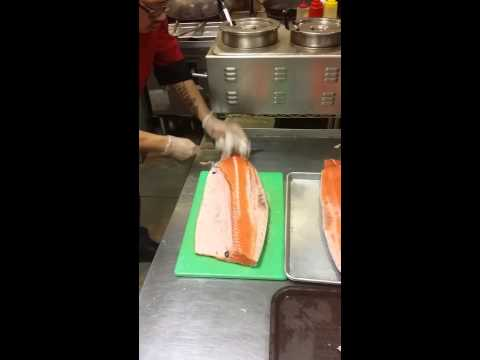 Cutting salmon on Tuesday