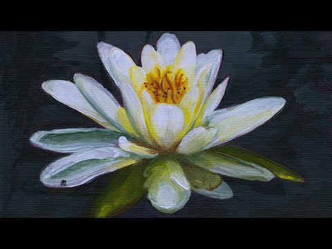 Painting a Water Lily in Acrylics (Narrated)