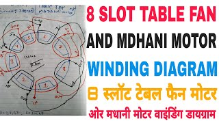 8 slot tabale fan and madhani motor 1440 rpm winding diagram in hindi and  urdu