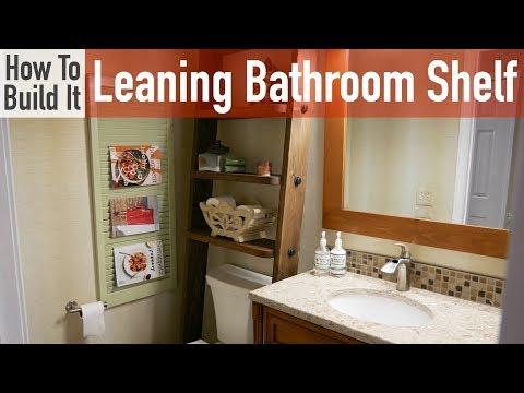 Simple DIY Leaning Bathroom Shelf