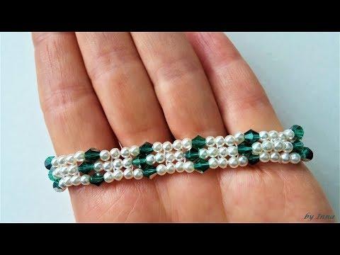 Beaded bracelet.   How to make a bracelet, easy pattern