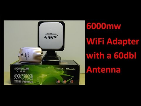 6000mw WiFi Adapter with a 60dbI Antenna