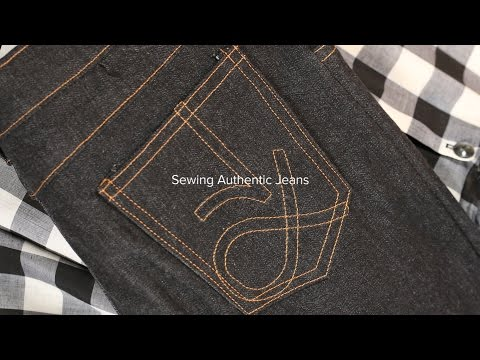 Sewing Jeans Part 7, Embroider the Back Pocket Logo