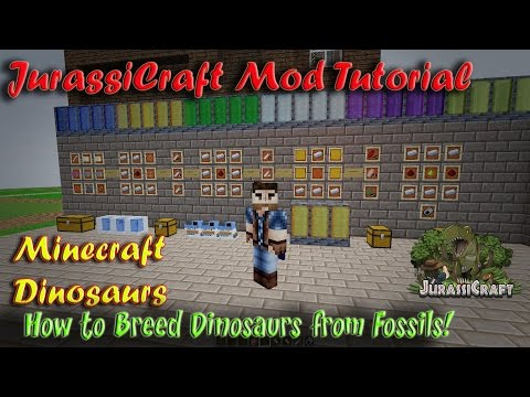 JurassiCraft Tutorial How to Get Dinosaurs from Fossils and breed Dinosaurs