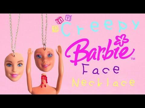 DIY - Creepy Barbie Doll Face Necklace !! Cute and Unique ! DIY Necklace