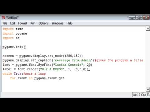 How to make a simple prank virus in Python 2.7