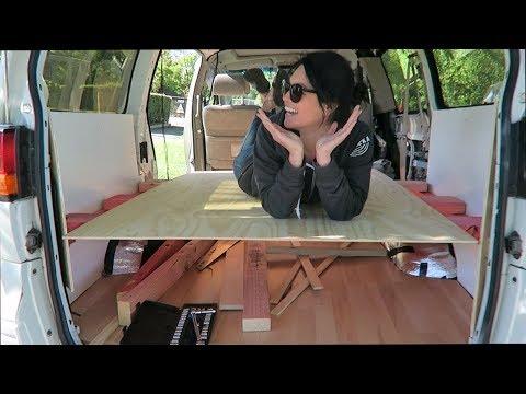 Floating bed frame // CAMPER VAN CONVERSION Ep. 8