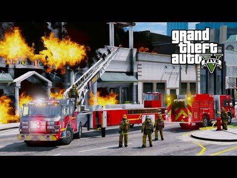 Download GTA 5 Firefighter Mod Tiller Ladder Firetruck Responding To