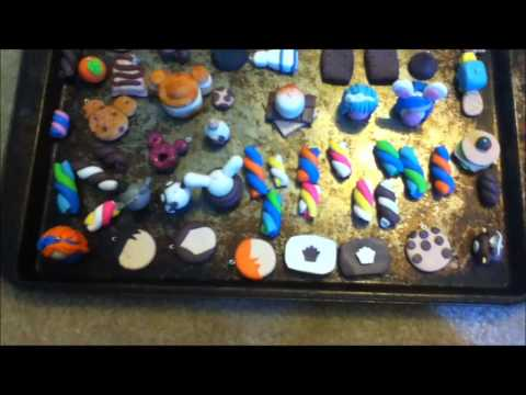 Baking polymer clay charms!!! :)